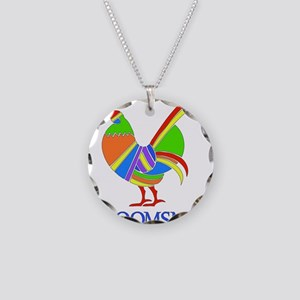 Rainbow Rooster Groomsman Necklace Circle Charm