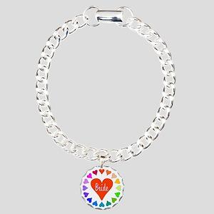Rainbow Hearts Bride Charm Bracelet, One Charm