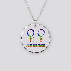 Just Married Lesbians Necklace Circle Charm