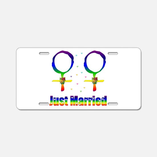 Just Married Lesbians Aluminum License Plate