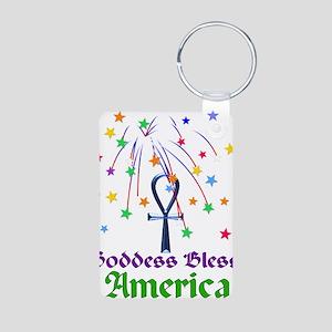 Goddess Bless America Aluminum Photo Keychain