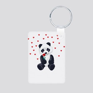Panda Bear Valentine Aluminum Photo Keychain