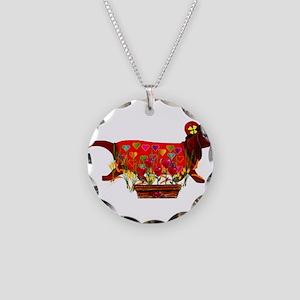 Weiner Dog Valentine Necklace Circle Charm