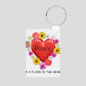 Peace Heart Aluminum Photo Keychain