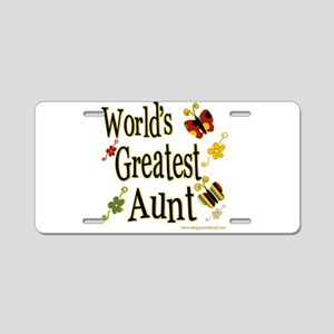 Aunt Butterflies Aluminum License Plate