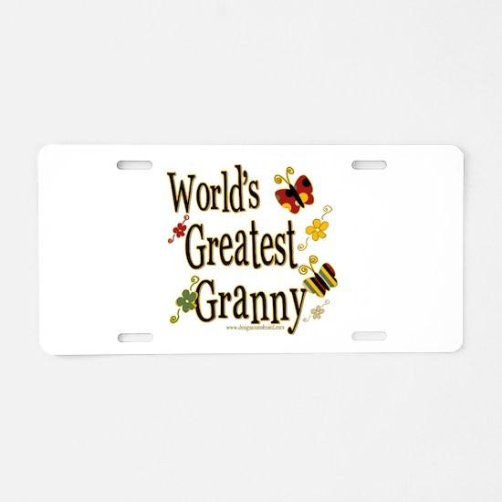 Granny Butterflies Aluminum License Plate