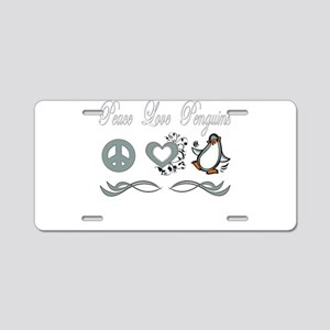 Peace Love Penguins Aluminum License Plate