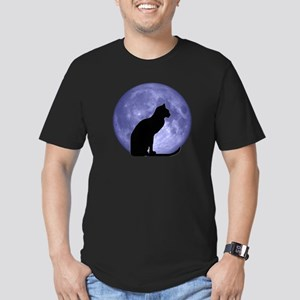 Cat & Moon Men's Fitted T-Shirt (dark)