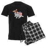 Jack Russell With USA Flag Men's Dark Pajamas