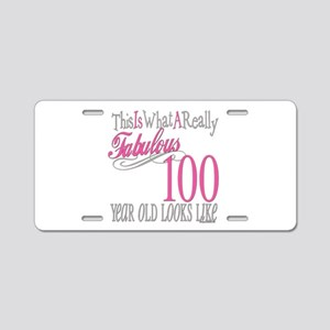 100th Birthday Gift Aluminum License Plate