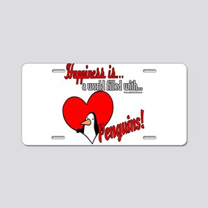 Happiness is penguins Aluminum License Plate