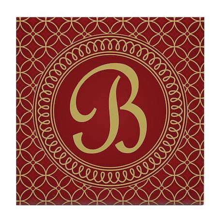 Monogrammed Letter B Regal Tile Coaster