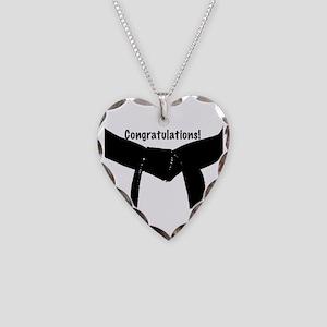Black Belt Congrats Necklace Heart Charm