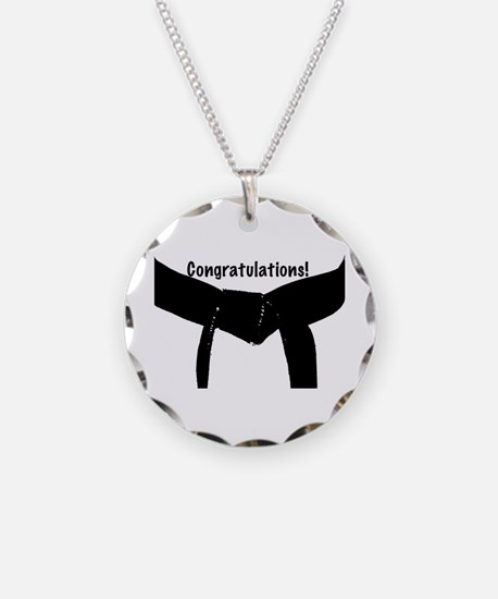 Black Belt Congrats Necklace Circle Charm
