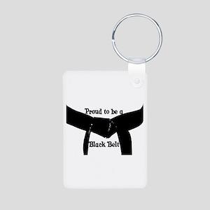 Proud to be a Black Belt Aluminum Photo Keychain