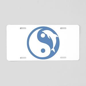 Blue Dolphin Yin Yang Aluminum License Plate