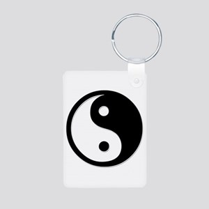 Black Yin Yang Aluminum Photo Keychain