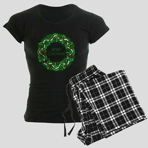 Celtic Christmas Wreath Women's Dark Pajamas