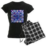 Blue Quilt Watercolor Women's Dark Pajamas