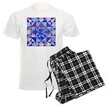 Blue Quilt Watercolor Men's Light Pajamas