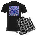 Blue Quilt Watercolor Men's Dark Pajamas