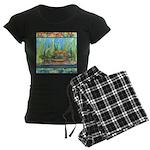 Tie Dye Turtle Watercolor Women's Dark Pajamas