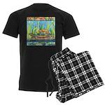 Tie Dye Turtle Watercolor Men's Dark Pajamas