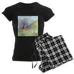 California Tree Watercolor Women's Dark Pajamas