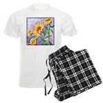 Sunny Sunflowers Watercolor Men's Light Pajamas