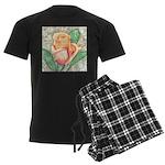 Peach Rose Watercolor Men's Dark Pajamas