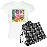 Cat and Moon Watercolor Women's Light Pajamas