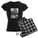 Fish and Flowers Art Women's Dark Pajamas