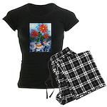 Fish and Flowers Art Women's Dark Pajamas