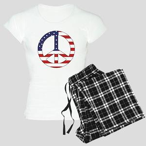 Peace Sign (American Flag) Women's Light Pajamas