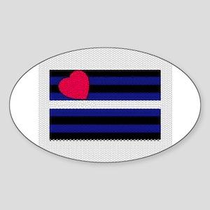 LEATHER PRIDE FLAG_tile look Oval Sticker