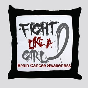 Licensed Fight Like a Girl 5.3 Brain Throw Pillow