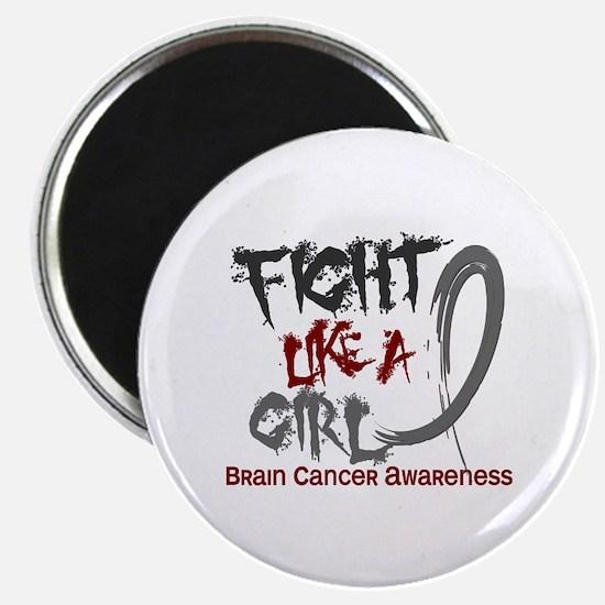Licensed Fight Like a Girl 5.3 Brain Cancer Magnet