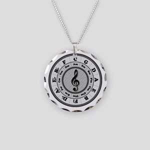 B&W Circle of Fifths Necklace Circle Charm