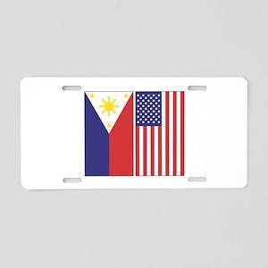 Philippine Flag & US Flag Aluminum License Pla