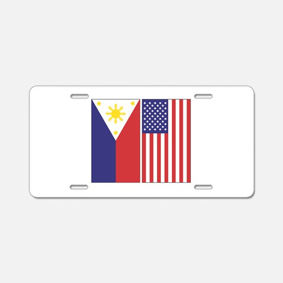 Philippine Flag & US Flag Aluminum License Pla