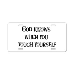 God Knows Aluminum License Plate