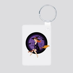 Red Headed Witch Aluminum Photo Keychain