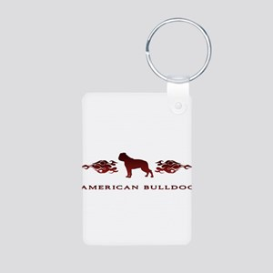 American Bulldog Flames Aluminum Photo Keychain