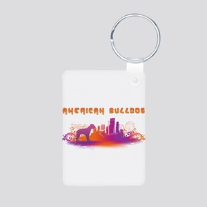 """City"" American Bulldog Aluminum Photo Keychain"