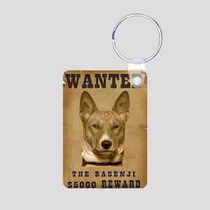 """""""Wanted"""" Basenji Aluminum Photo Keychain"""