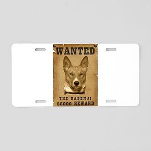 """Wanted"" Basenji Aluminum License Plate"