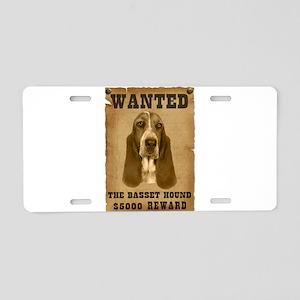 """Wanted"" Basset Hound Aluminum License Plate"