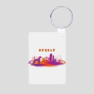 """City"" Beagle Aluminum Photo Keychain"