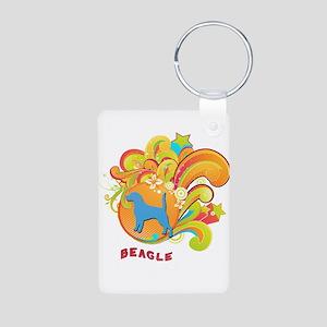 Groovy Beagle Aluminum Photo Keychain