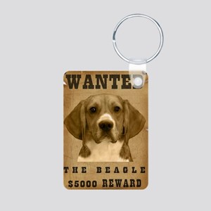 """Wanted"" Beagle Aluminum Photo Keychain"